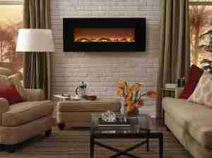 living room mounted electric fireplace
