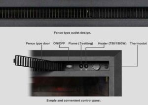 PuraFlame Western 33 inch Embedded Electric Fireplace controls