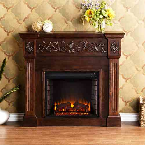 Electric Fireplace With Carved Mantel | Calvert FA9278E By SEI